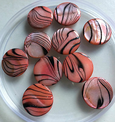 Red Banded / Spray Painted / Flat Round Shell Beads - Size 18mm (Approx).