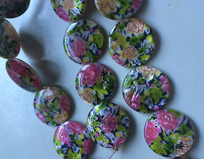 Multi Coloured Double Sided Printed Flat Round Shaped Shell Beads. Size 20mm. 7