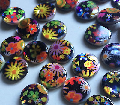 Multi Coloured Double Sided Printed Flat Round Shaped Shell Beads. Size 20mm. 1