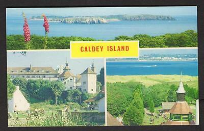"""CALDEY ISLAND""  Multi View Postcard Wales  Pembrokeshire"