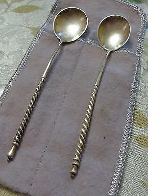 Pair of Russian Antique Russia Sterling Silver Engraved Spoon BA A.A 84