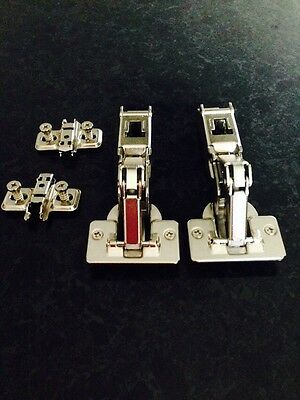2 X Blum 170 Degree Hinges With Fixing Plates
