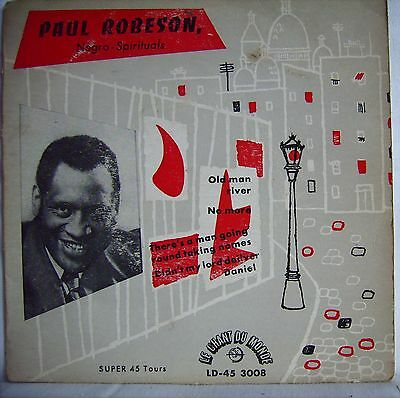 "Paul Robeson  Negro Spirituals   7"" French Vinyl 4 track Single  EP"