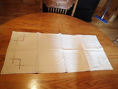 Antique Linen Beige Table Runner With Fancy Work