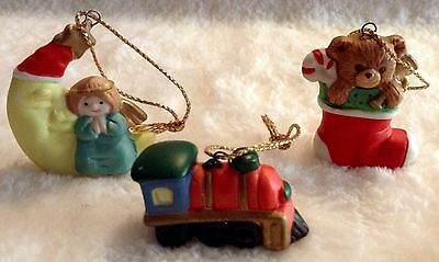 Vintage Miniature Ceramic Christmas Ornaments Russ Train Moon Stocking