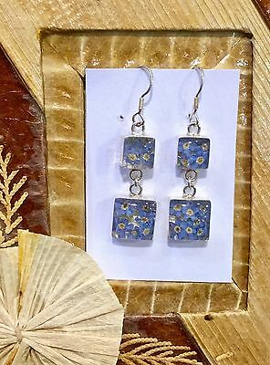 MEXICAN EARRINGS .925 Sterling Silver Pressed Flowers Square Forget Me Not