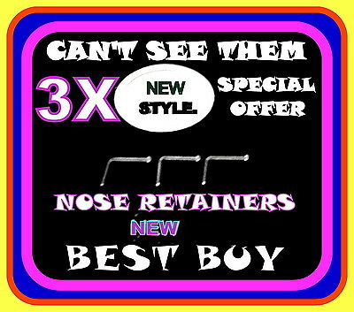 3 x Tiny Half Ball Top Nose Stud/Ring Retainers, 22g 0.6mm, Body Piercing