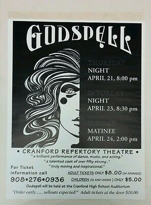 Godspell. CRANFORD REPERTORY THEATRE. Original Ticket Sale Poster.
