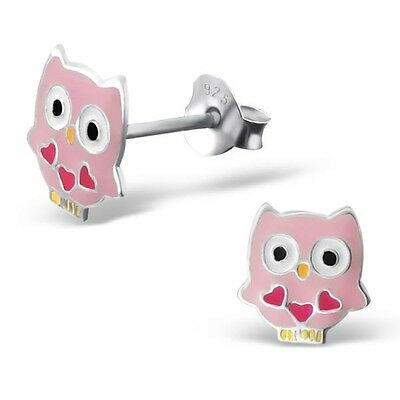 10 x Pairs Pink Owl Earrings Sterling Silver Wholesale Bulk Lot Party Favours