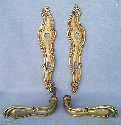 Antique french door handles set bronze early 1900's signed numbered Louis XV