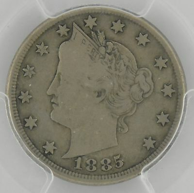 1885 5 Cent Liberty Head Nickel PCGS Graded F12 / Fine