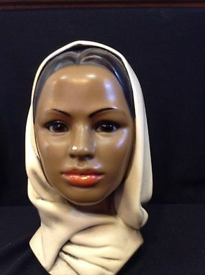 Vintage  BUST PLASTER CHALKWARE MIDDLE EAST WOMAN FACE