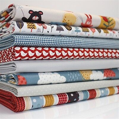 FQ Bundle - Makower Windy Day Brown x 8 - Cotton Fabric Patchwork Quilting Fat Q