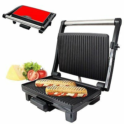 Stainless Steel Red Health Grill and Panini Maker Press Machine with Drip Tray
