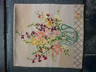 Vintage Needlework Of Flowers In Jug, Unframed