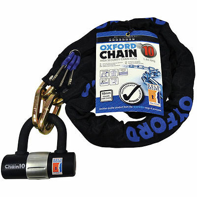 Oxford Heavy Duty Bicycle Bike Cycle Sold Secure Chain and D U Lock Padlock 1.4m