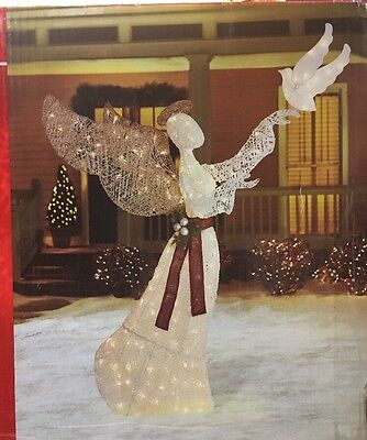 "Christmas 74"" Lighted Holy Angel Dove Indoor Outdoor Yard Art LED Lighting Decor"