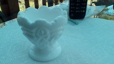 White Milk Glass egg holder candle stick ? - Quilt Pattern - 2 1/2 inches tall
