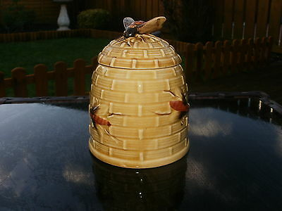 Vintage Embosed Honey Pot With Bee Finial - Japanese