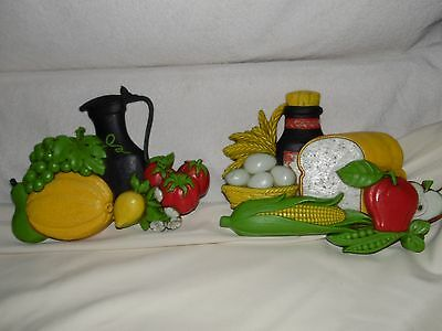 Vintage Harvest Of Plenty Wall Plaques By Syroco
