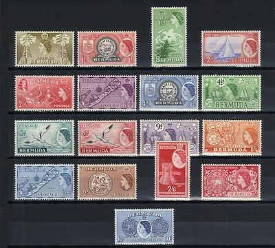 1953 Qe11 Bermuda Set Of 17 Mint Definitive Stamps To 10/-