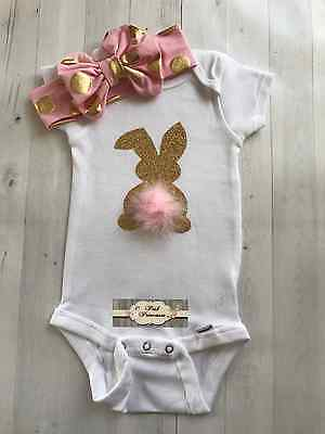 Easter Baby Girl Glitter Bunny Onesie, Peter Cottontail Onesie ONLY