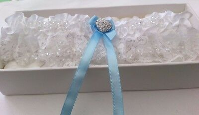 Bridal White Lace Wedding Garter Something Blue Gift Present Boxed with Petals