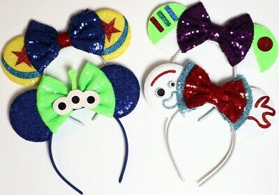 24pc Mickey Minnie Mouse Ears Headband Black Red/Pink Bow Party Favors Costume