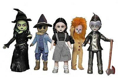 """LIVING DEAD DOLLS LOST IN OZ WIZARD OF OZ SET of 5 DOLLS 10"""" TALL NEW SEALED"""