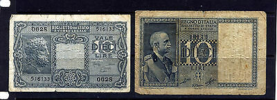 Italy 1939 & 1944 10 Lire Banknotes Worn Condition: Two Scans