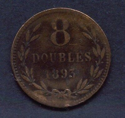 Guernsey 1893 2 Doubles Coin Average Circulated Condition: Two Scans