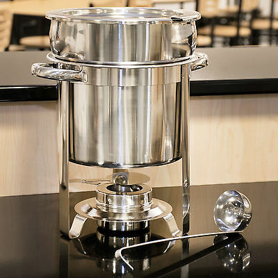 Choice Deluxe 7 qt. Soup Chafer Marmite Stainless Steel Chafing Dish Catering