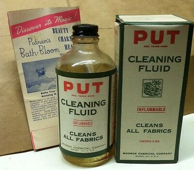 PUT Cleaning Fluid for fabrics, Vintage 1920-30's Country General Store