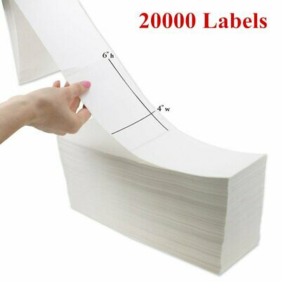 20000 Fanfold 4x6 Direct Thermal Shipping Barcode Mailing Label - Zebra 2844 UPS