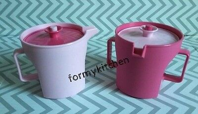 Tupperware Vintage Push Button Cream and Sugar Set Shades of Pink New!!!