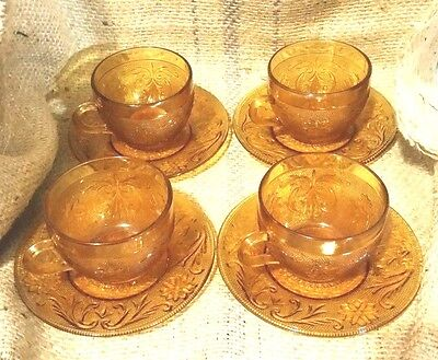 Vintage Amber Glass - Tiara - Daisy Pattern Tea Cups w/ Saucers - LOT OF 4