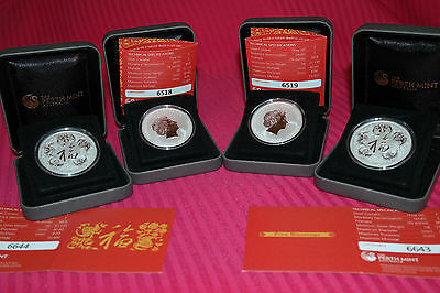 2016 1oz perth mint five blessings .999 silver coin + box + certificat untouched