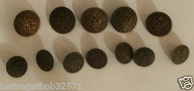 Vintage Us Army Uniform Buttons – Lot Of 12 Brass