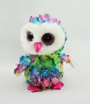 "6"" TY Beanie Boos Glitter Eyes With Hang Tag New Owen Owl Plush Stuffed Toys"