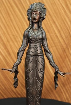 Signed Native American Indian Girl Art Statue Figure Bronze Sculpture Deco DB