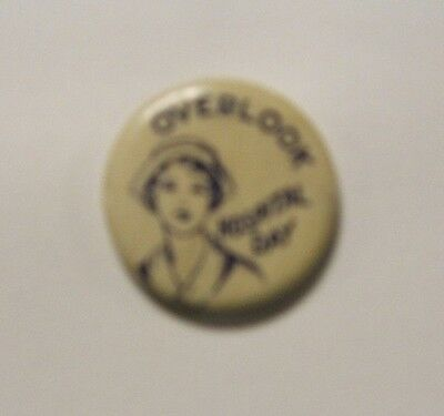 OVERLOOK Hospital Day VINTAGE round pin, Whitehead & Hoag Co., Newark, NJ 1950's