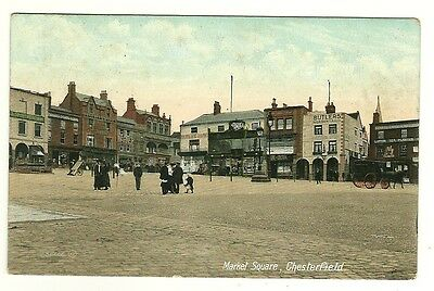 Chesterfield - a colour-added, photographic postcard of the Market Square