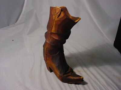 "Match,or Toothpick,Hand Carved,Western Boot,Holder,Very Well Detailed, 7"" H."