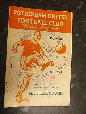 Rotherham United v Middlesbrough Programme 1960 signed by 12
