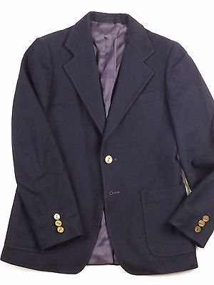 VTG Yves Saint Laurent Coat Navy Blazer Suit Jacket Wool Brass Logo Button YSL