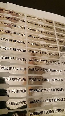 120x WARRANTY VOID IF REMOVED TAMPER EVIDENT VOID silver stickers, 50mm X 10mm