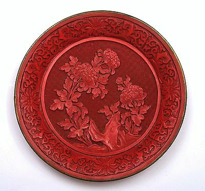 Vintage Chinese Cinnabar Lacquer Carved Carving Plate with Chrysanthemum