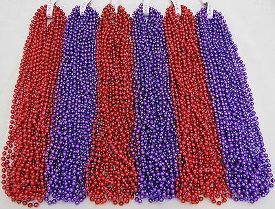 Mardi Gras Beads Purple and Red Hat Society Valentines Day 6 Dozen 72 Necklaces