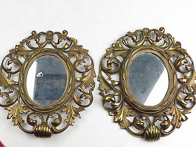 Antique Pair Cast Solid Brass Mirror Set OLD Beautiful HEAVY Marked Pat 1894