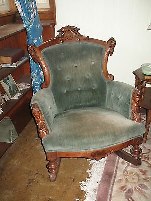Victorian Antique Upholstered Rocking Chair Carved Walnut Wood Figures 1860s